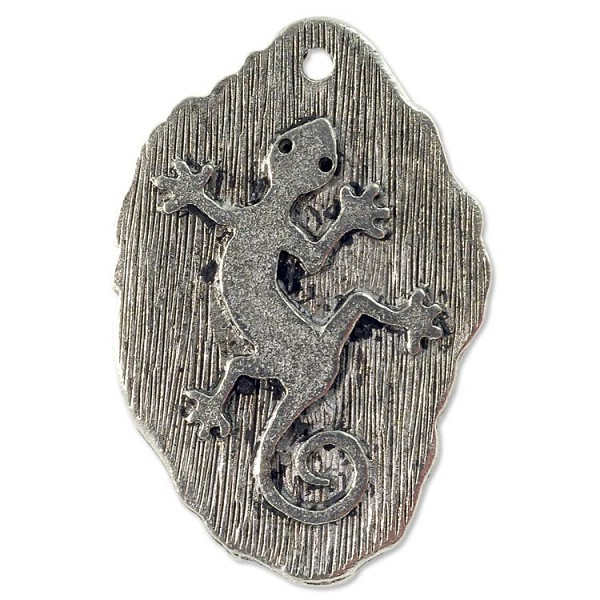 Gecko Pendant 31x20mm Pewter Antique Silver Plated (1-Pc)