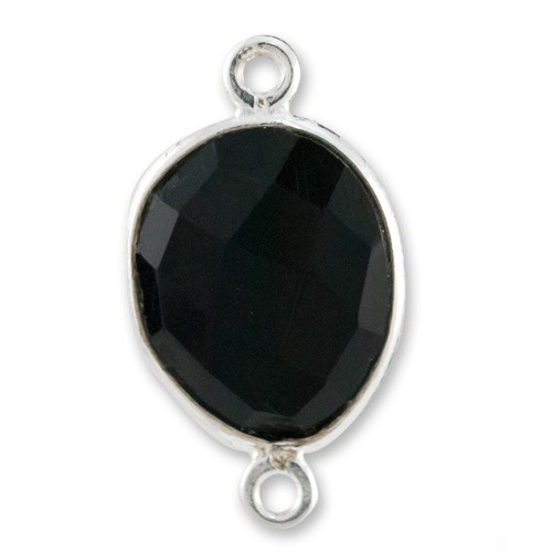 Free Form Faceted Black Onyx Connector Sterling Silver 20mm (1-Pc)