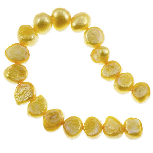 "Freshwater Potato Pearl Nugget Bright Gold 9-10mm (16"" Strand)"