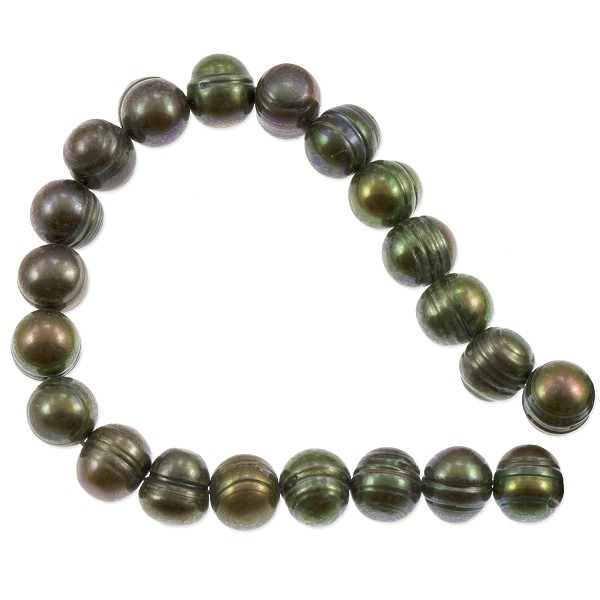 "Freshwater Potato Pearl Moss Green 7-8mm (16"" Strand)"