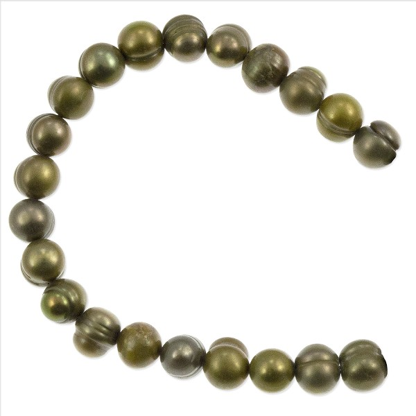 "Freshwater Potato Pearl Pea Green Mix 7-8mm (16"" Strand)"