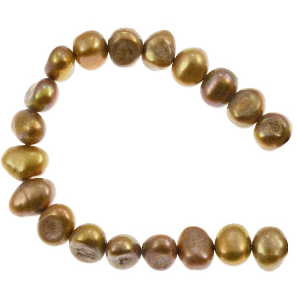 "Freshwater Potato Pearl Nuggets Rustic Gold 8-9mm (16"" Strand)"