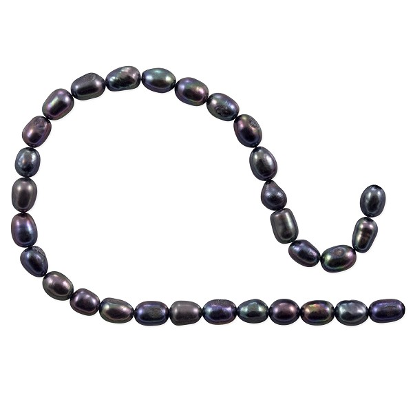 "Freshwater Rice Pearls Peacock Black 4-4.5mm (16"" Strand)"