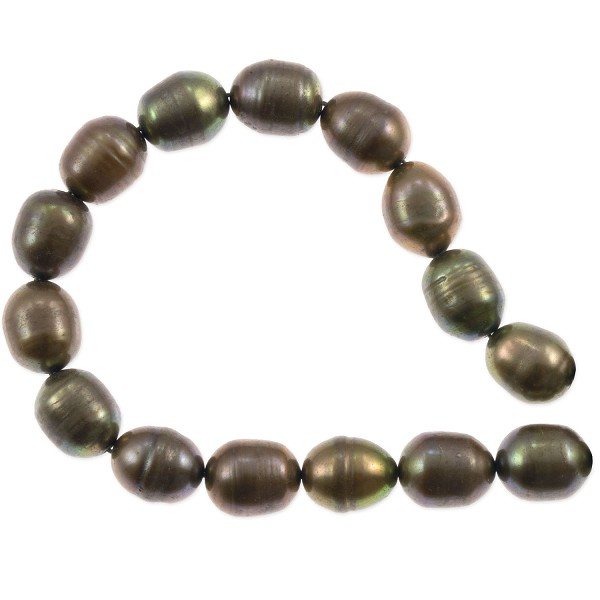 "Freshwater Rice Pearl Olive Green 8-9mm (16"" Strand)"