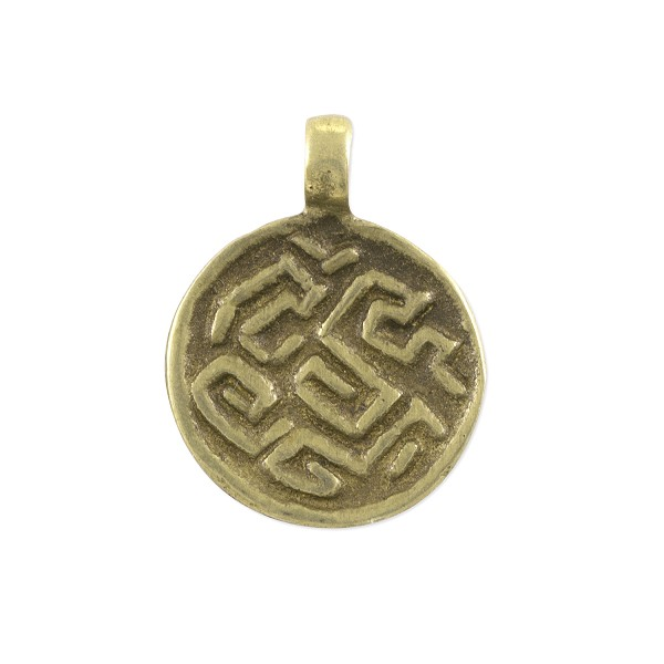 "Ethiopian Labyrinth Disc Pendant 1"" x 13/16"" Brass (1-Pc)"