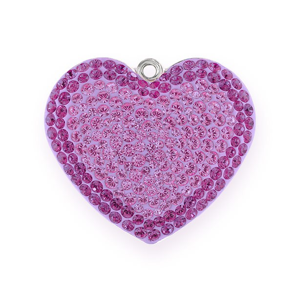 Swarovski Crystal Pave Heart Pendant 67412 20mm Light Amethyst/Amethyst (1-Pc)