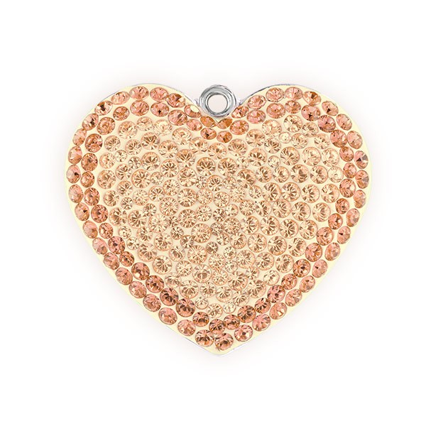 Swarovski Crystal Pave Heart Pendant 67412 20mm Silk/Light Peach (1-Pc)