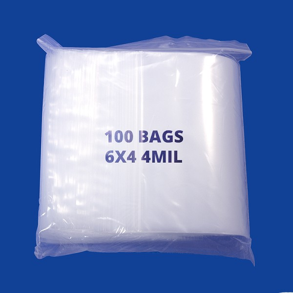 Zip Top 4mil Poly Bags 6x4 (100-Pcs)