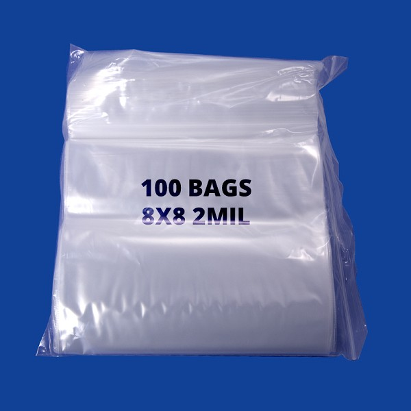Zip Top 2mil Poly Bags 8x8 (100-Pcs)
