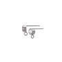Earring Post with 4mm Cubic Zirconia Sterling Silver (1-Pc)