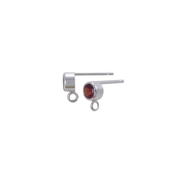 Earring Post with 4mm Garnet Sterling Silver (1-Pc)