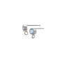 Earring Post with 4mm Sky Blue Topaz Sterling Silver (1-Pc)