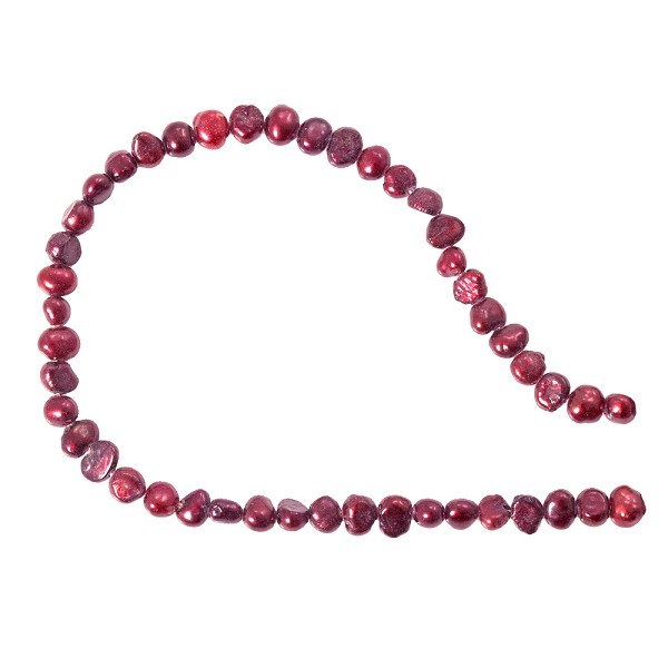 "Freshwater Potato Pearl Nugget Cranberry 5-6mm (16"" Strand)"