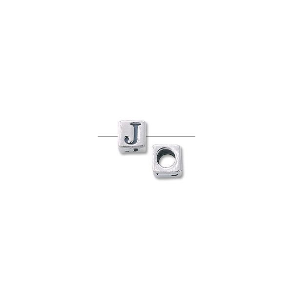 "Bead Alphabet Square 4.5mm ""J"" Sterling Silver (1-Pc)"