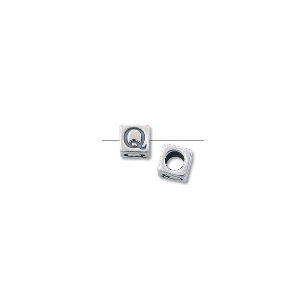 "Bead - Alphabet Square 4.5mm ""Q"" Sterling Silver"