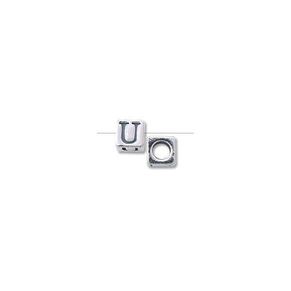 "Bead - Alphabet Square 4.5mm ""U"" Sterling Silver"