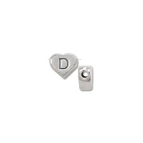 "Bead - Alphabet Heart 7x6mm ""D"" Sterling Silver"