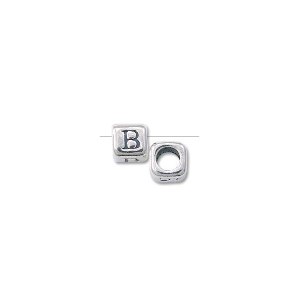 "Bead - Alphabet Rounded Square 4.5mm ""B"" Sterling Silver"