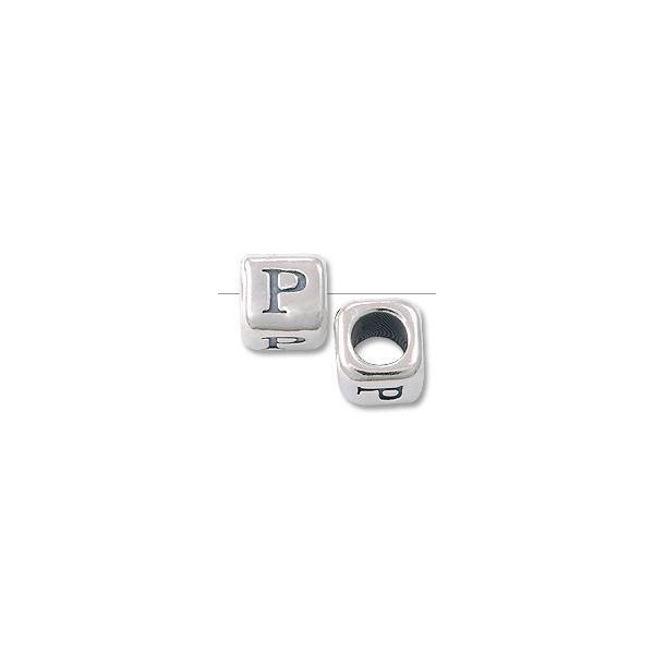 "Bead - Alphabet Rounded Square 4.5mm ""P"" Sterling Silver"