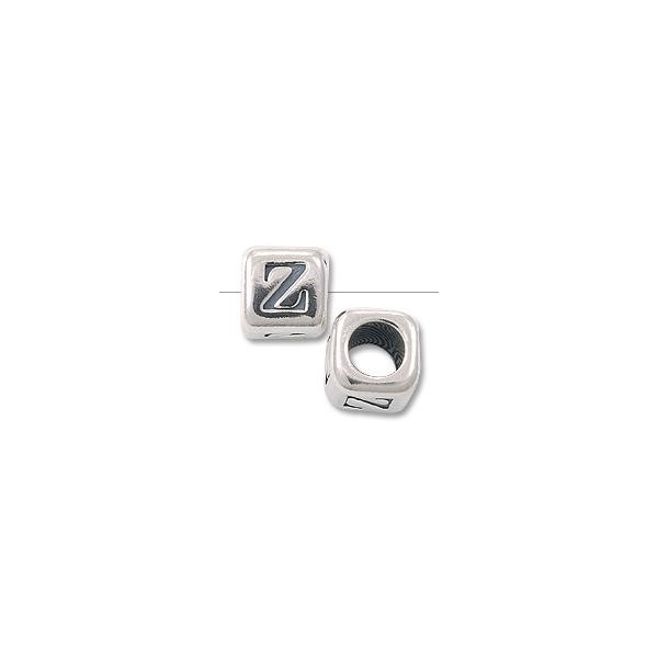 "Bead Alphabet Rounded Square 4.5mm ""Z"" Sterling Silver (1-Pc)"