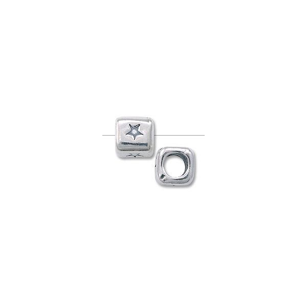 "Bead - Alphabet Rounded Square 4.5mm ""Star"" Sterling Silver"