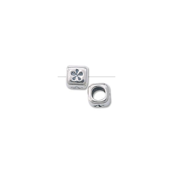 "Bead - Alphabet Rounded Square 4.5mm ""Flower"" Sterling Silver"