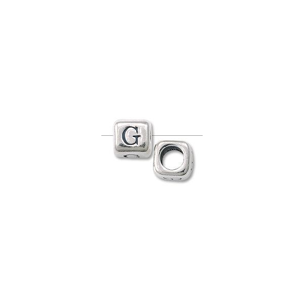 "Bead - Alphabet Rounded Square 6mm ""G"" Sterling Silver"