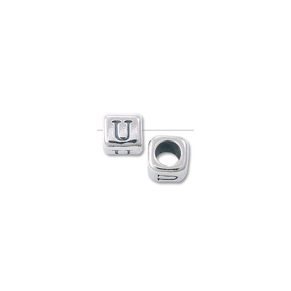 "Bead - Alphabet Rounded Square 6mm ""U"" Sterling Silver"