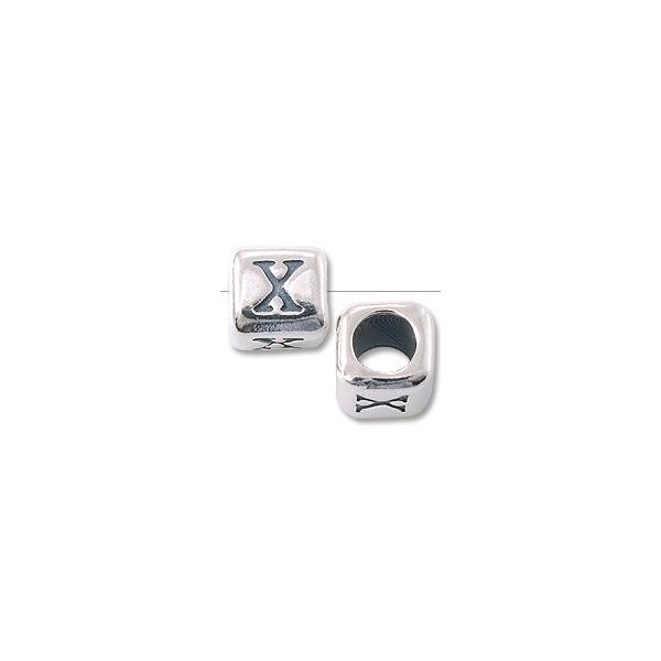 "Bead - Alphabet Rounded Square 6mm ""X"" Sterling Silver"