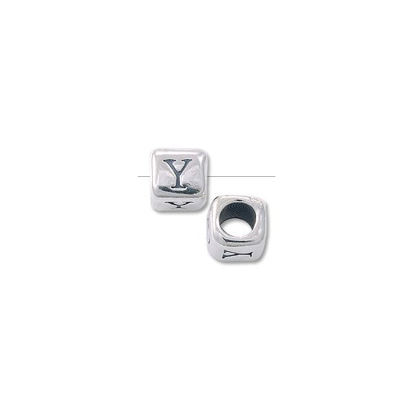 "Bead - Alphabet Rounded Square 6mm ""Y"" Sterling Silver"