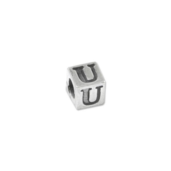 "Bead - Alphabet Square 5mm ""U"" Sterling Silver - Large Hole"