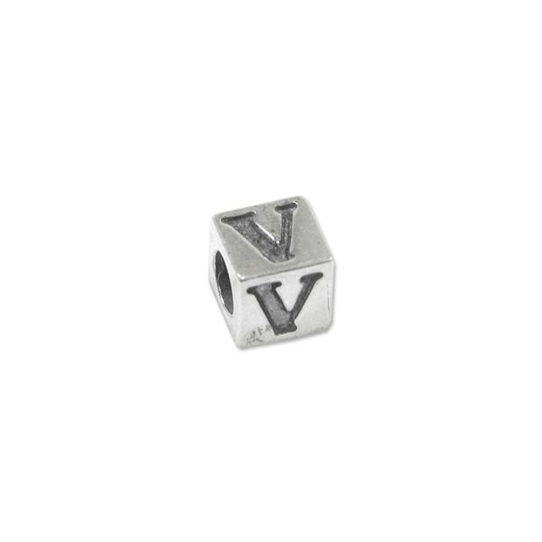 "Bead - Alphabet Square 5mm ""V"" Sterling Silver - Large Hole"