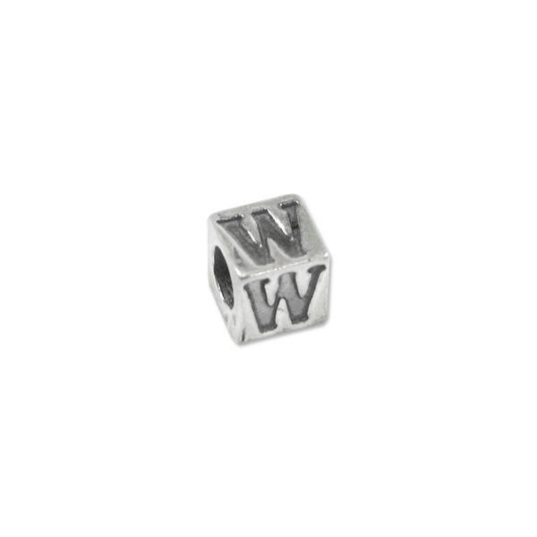 "Bead - Alphabet Square 5mm ""W"" Sterling Silver - Large Hole"