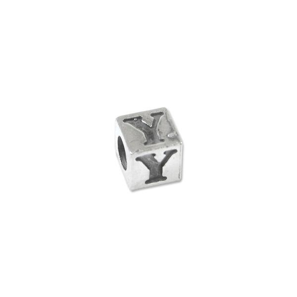 "Bead - Alphabet Square 5mm ""Y"" Sterling Silver - Large Hole"