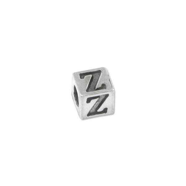 "Bead - Alphabet Square 5mm ""Z"" Sterling Silver - Large Hole"