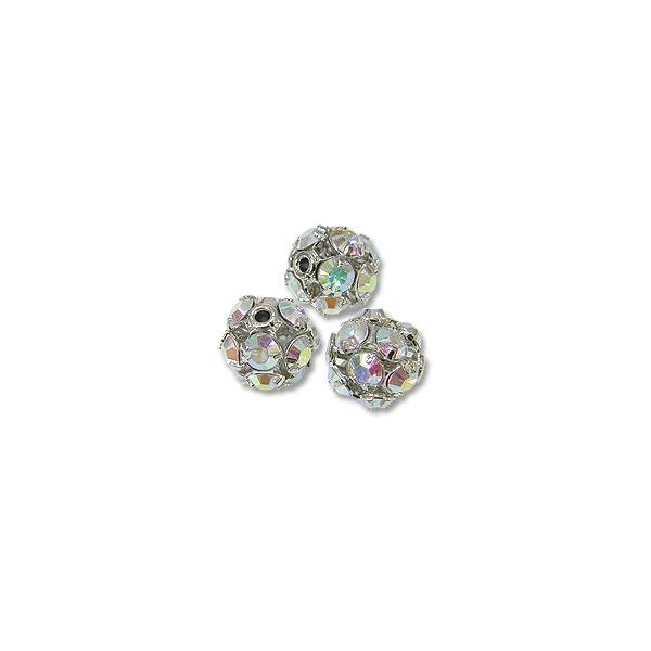 Swarovski Fireball Bead 8mm Crystal AB Sterling Plated (1-Pc)