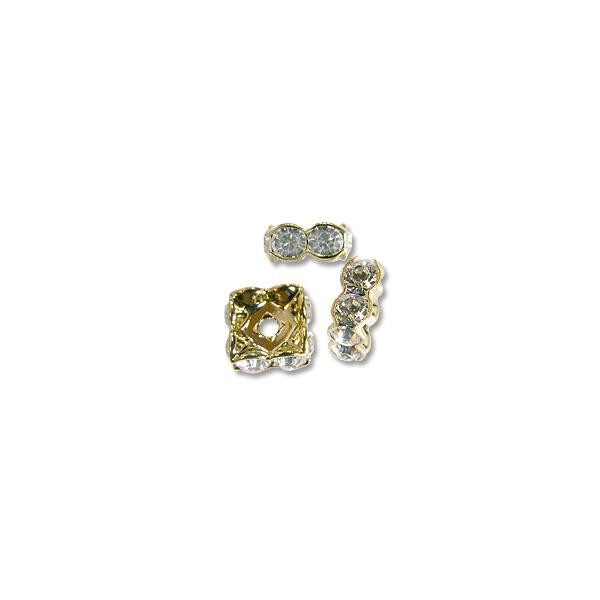 Swarovski Rondelle Square Bead 8mm Crystal Gold Plated (1-Pc)