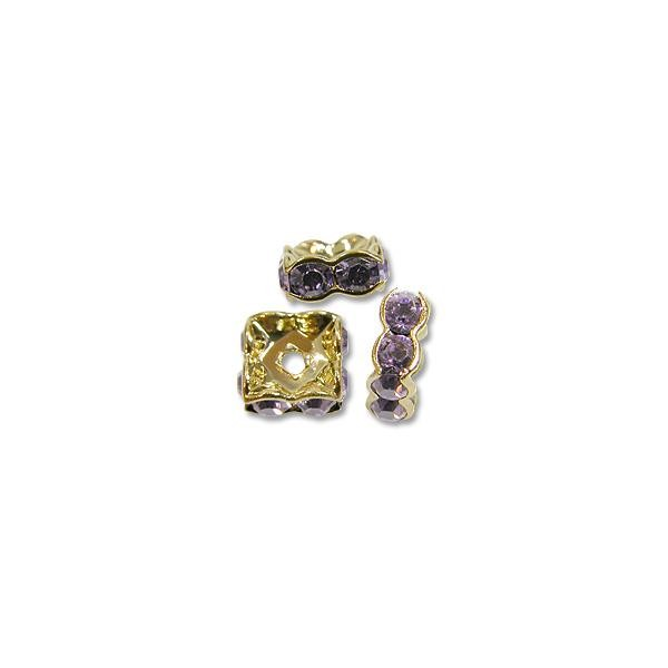 Swarovski Rondelle Square Bead 8mm Tanzanite Gold Plated (1-Pc)