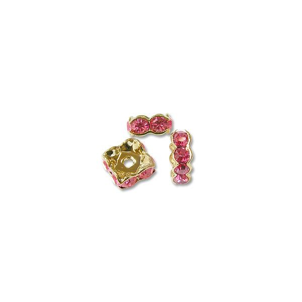 Swarovski Rondelle Square Bead 8mm Rose Gold Plated (1-Pc)