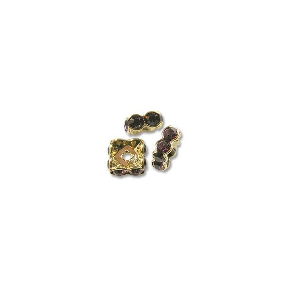 Swarovski Rondelle Square Bead 4.5mm Amethyst Gold Plated (1-Pc)