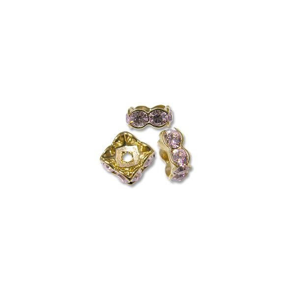 Swarovski Rondelle Square Bead 4.5mm Light Amethyst Gold Plated (1-Pc)