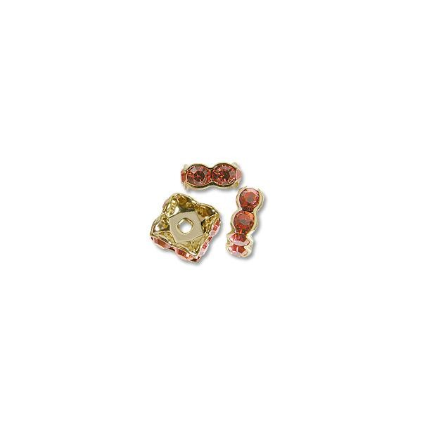 Swarovski Rondelle Square Bead 6mm Padparadscha Gold Plated (1-Pc)