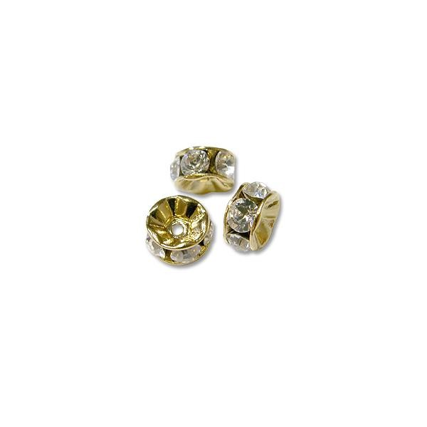Swarovski Rondelle 8mm Crystal Gold Plated (1-Pc)