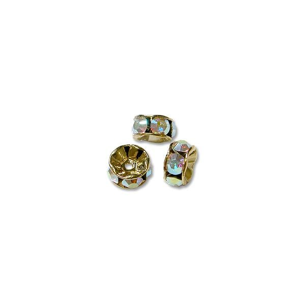 Swarovski Rondelle 8mm Crystal AB Gold Plated (1-Pc)