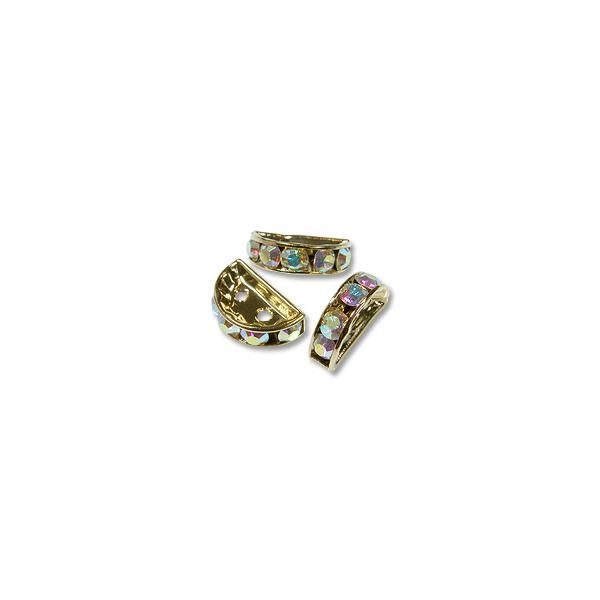 Swarovski Rondelle Half 13x6mm Crystal AB Gold Plated (1-Pc)