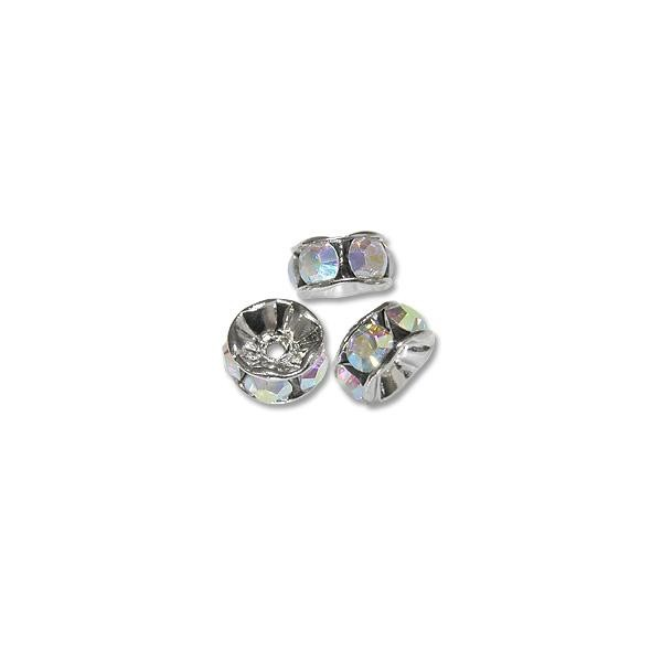 Swarovski Rondelle Bead 4mm Crystal AB Sterling Plated (1-Pc)
