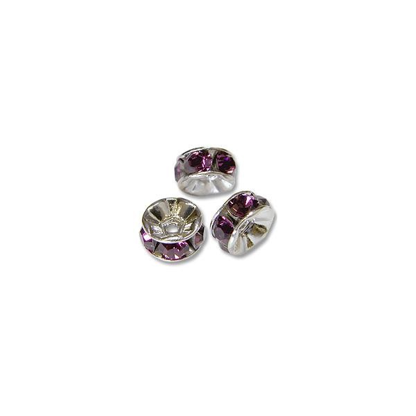Swarovski Rondelle 4mm Amethyst Sterling Plated (3-Pcs)