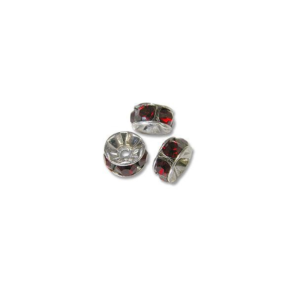Swarovski Rondelle Bead 4mm Siam Sterling Plated (1-Pc)