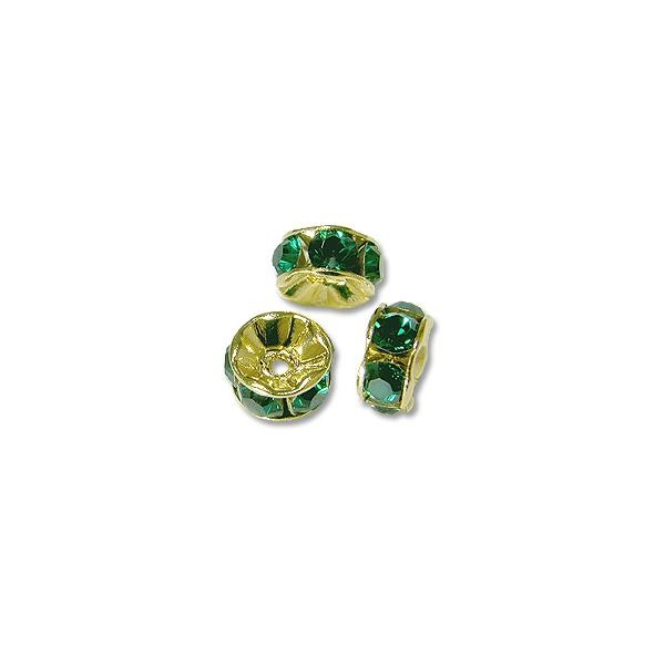 Swarovski Rondelle Bead 6mm Emerald Gold Plated (3-Pcs)