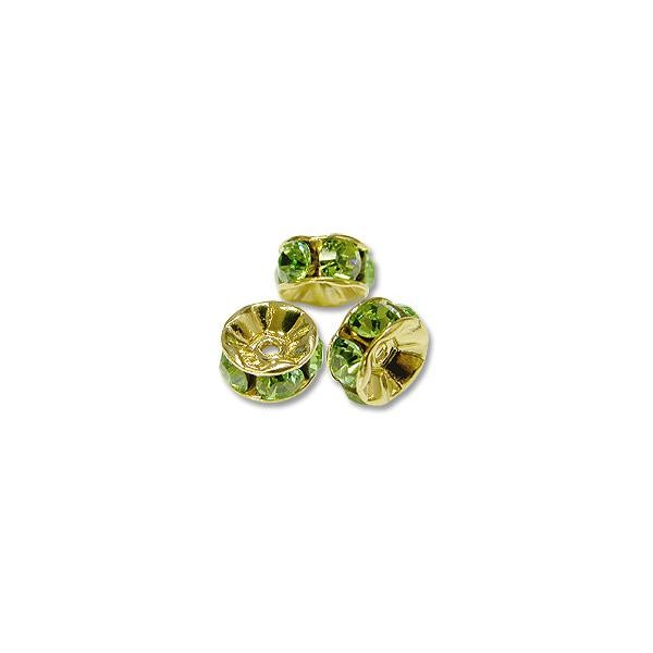 Swarovski Rondelle 6mm Peridot Gold Plated (3-Pcs)